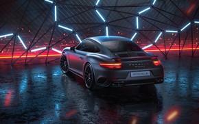 Обои 911, Porsche, Неон, Машина, Серый, Porsche 911 Turbo, Рендеринг, Turbo S, Porsche 911 Turbo S, ...