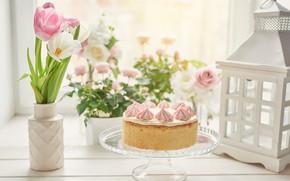 Картинка цветы, торт, ваза, украшение, декор