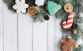 Картинка украшения, Новый Год, печенье, Рождество, Christmas, wood, New Year, cookies, decoration, пряники, gingerbread, Merry, fir ...