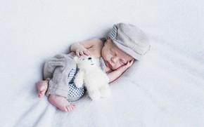 Картинка игрушка, мальчик, мишка, спит, младенец, baby