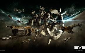 Картинка туманность, планета, станция, Космос, space, космический корабль, eve online, space ship, космоопера