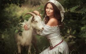 Картинка девушка, коза, Алина Иванова