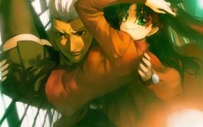 Картинка взгляд, девушка, парень, двое, Рин, арчер, Судьба ночь схватки, Fate / Stay Night