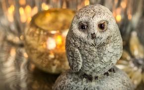 Картинка свет, огни, уют, сова, птица, игрушка, свечи, подсвечник, фигурка, боке, сувенир