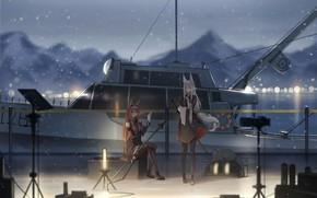 Картинка море, кошка, снег, девушки, катер, ушки