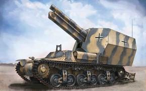 Картинка Германия, сау, вермахт, самоходная гаубица, Marder I, Sd.Kfz.135/1, Lorraine 37L, sFH 13