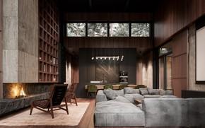 Картинка дизайн, мебель, камин, помещение, графин
