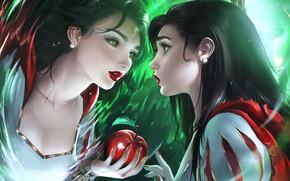 Картинка apple, anime, disney, reflection, mirror, anime girl, tale, magic mirror, childish story, snow White