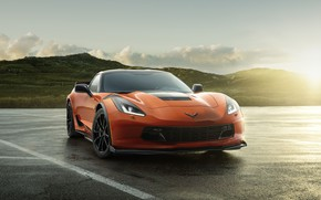 Картинка дорога, солнце, свет, оранжевый, Chevrolet, Шевроле, Corvette Z06, Chevrolet Z06