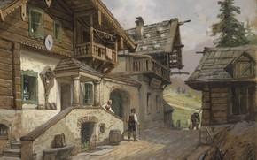 Обои 1935, Georg Janny, Георг Джанни, австрийский живописец, Деревенская улица в Альпах, Dorfstrabe in den Alpen, ...