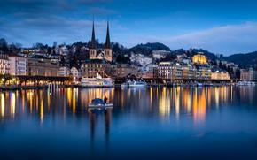 Картинка озеро, лодка, здания, Швейцария, церковь, Switzerland, дама, Люцерн, Lucerne, Lake Lucerne, Люцернское озеро, теплоходы, Фирвальдштетское …