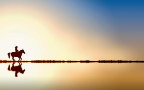 Картинка небо, солнце, закат, отражение, лошадь, силуэт, всадник