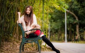 Картинка взгляд, парк, волосы, азиатка, скамья