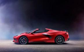 Картинка Corvette, Chevrolet, вид сбоку, Stingray, 2020, C8