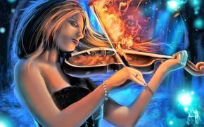 Картинка девушка, огонь, скрипка