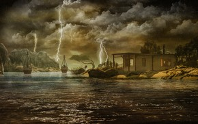 Картинка гроза, небо, вода, облака, деревья, пейзаж, тучи, природа, дом, камни, рендеринг, скалы, берег, молнии, лодки, …