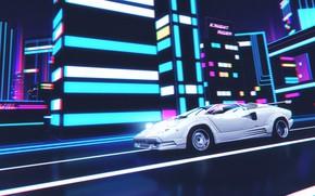 Картинка Музыка, Lamborghini, Фон, 80s, Neon, Countach, Illustration, Lamborghini Countach, Gran Turismo 6, 80's, Synth, Retrowave, …