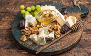 Картинка сыр, мед, виноград, орехи, ассорти, финики