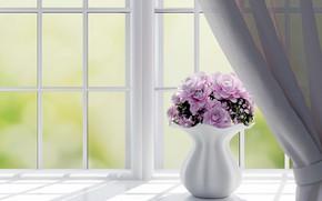 Картинка цветы, рендеринг, окно, ваза