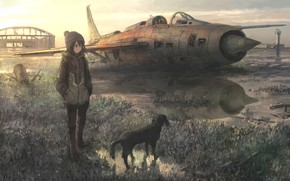 Картинка dog, reflection, original, tokunaga akimasa