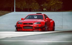Картинка Nissan, Red, GT-R, Car, Skyline, Tuning, R34