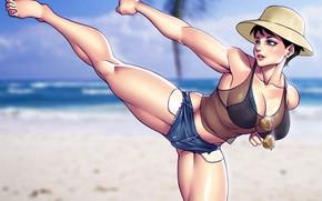 Картинка пляж, грудь, лето, девушка, ноги, тело, шорты, шляпа, очки, боец, мышцы