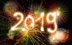 Картинка праздник, Новый Год, фейерверк, 2019
