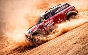 Картинка Mini, Пыль, Спорт, Пустыня, Машина, Скорость, Гонка, Автомобиль, Rally, Dakar, Дакар, Внедорожник, Ралли, Дюна, 321, …