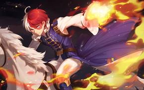 Картинка огонь, пламя, аниме, арт, парень, Моя геройская академия, Boku No Hero Academia