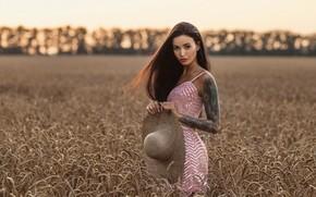 Картинка пшеница, грудь, девушка, модель, шляпа, тату, Louis de Navarre, Анна Сахарова
