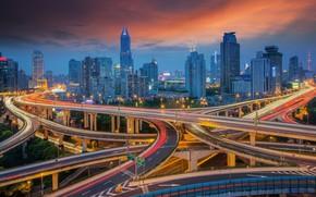 Картинка закат, город, дороги, Китай, Shanghai, Шанхай