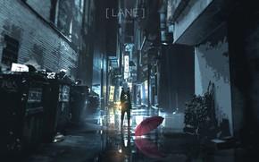 Картинка девушка, ночь, зонт, переулок
