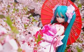 Картинка цветы, зонтик, кукла