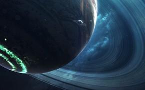 Картинка Звезды, Планета, Космос, Туманность, Звезда, Планеты, Planets, Кольцо, Star, Арт, Stars, Space, Art, Кольца, Спутник, …