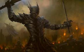 Картинка меч, доспехи, фэнтези, арт, рыцарь
