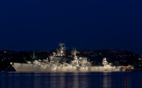 Картинка праздник, подсветка, Москва, крейсер