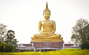 Картинка золото, статуя, религия, Будда