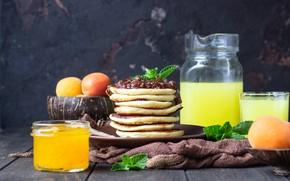 Картинка завтрак, сок, блины, джем, апельсиновый, абрикосовый