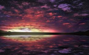 Картинка небо, вода, горы, природа, сумерки