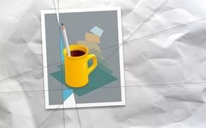Картинка бумага, вектор, кружка, карандаш, мятая бумага, компьютерная графика, векторная графика, растровая графика, 2D графика, растр