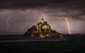 Картинка гроза, молния, Франция, монастырь, Нормандия, Мон-Сен-Мишель