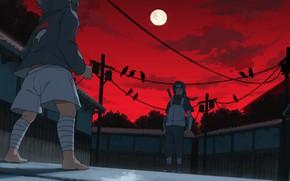 Картинка ночь, братья, Naruto, Саске Учиха, Итачи Учиха, кровавая ночь
