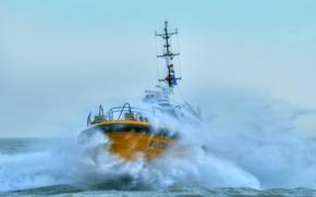 Картинка волны, шторм, стихия, корабль, нидерланды
