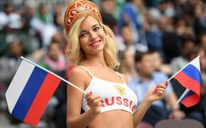 Обои Чемпионат мира по футболу, открытие, Россия, девушка.