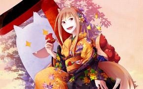 Картинка листья, девушка, яблоки, дух, призрак, юката, заколка, Spice and Wolf, Holo, Волчица И Пряности