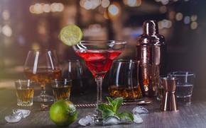 Картинка лед, бокалы, коктейль, лайм, напитки