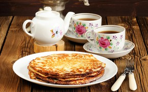Картинка чай, чайник, чашки, блины, выпечка, масленица