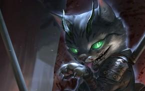 Картинка морда, когти, рога, облизывается, котяра, горящие глаза, брызги крови, адская ухмылка, Cat assassin, Ruby Siswanto, …