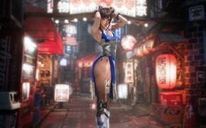 Картинка Девушка, City, Fantasy, Арт, Art, Street Fighter, Chun-Li, Cyborg, Chun Li, Characters, Johnson Ting, Cyberpunk, …