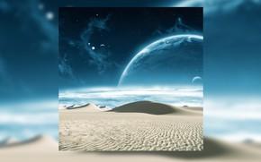 Обои песок, космос, звезды, пейзаж, вселенная, пустыня, планета, галактика, space, universe, desert, stars, sand, planet, galaxy
